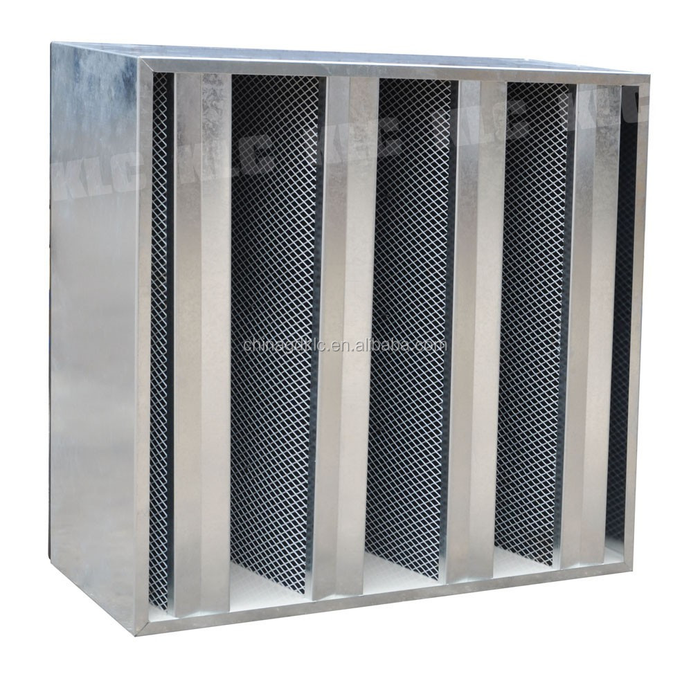 Customized hepa V bank type carbon air filter for 0.3um dust