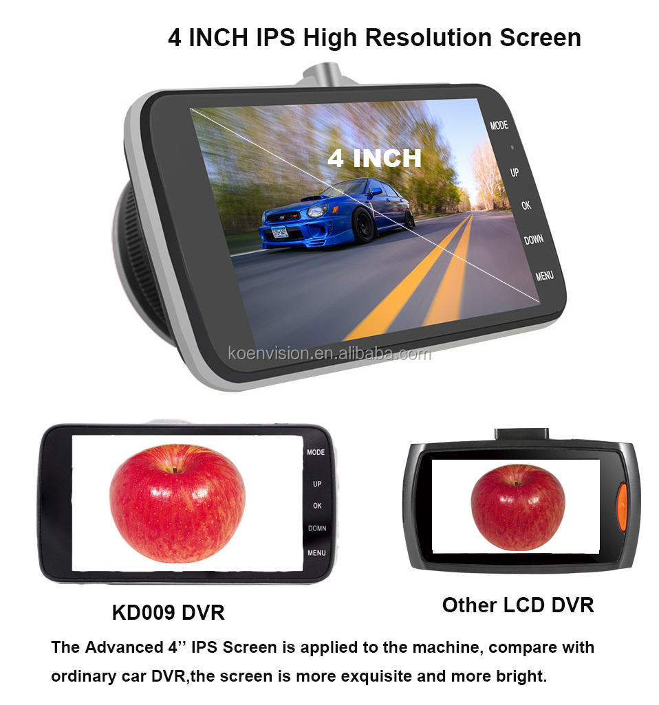 2016 Best Dash Cam 1080P 4 Inch Screen Dashcam Front And Back Lens Car DVR