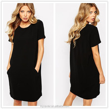 2015 summer cotton fabric black simple ladies plain t-shirt fashion dress with pocket