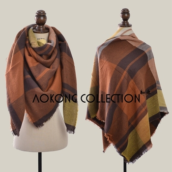Coffee orange stock square large oversize winter cape tartan plaid blanket scarf