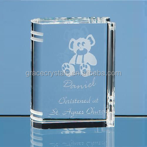 Small laser engraving crystal book trophy