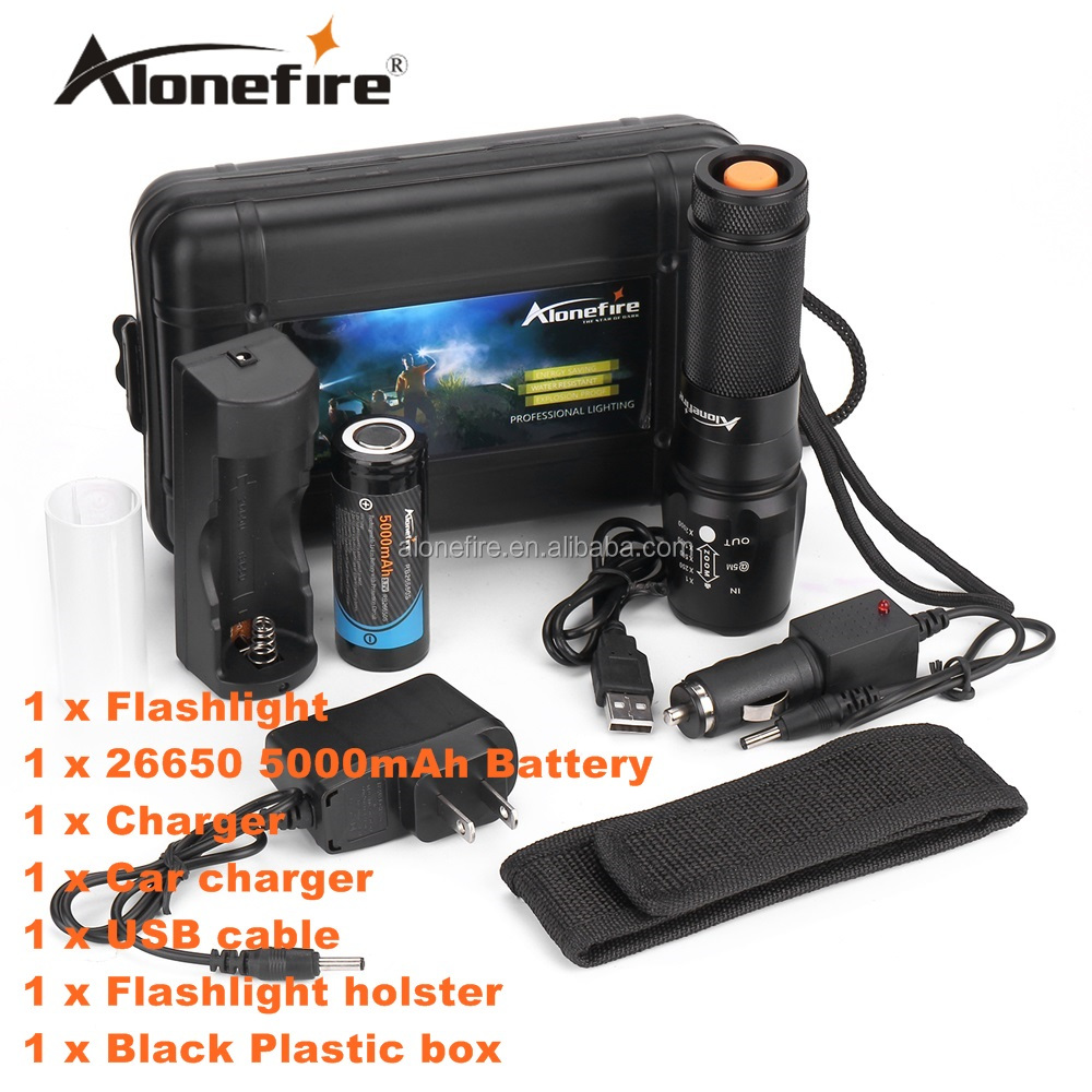 ALONEFIRE X800 <strong>CREE</strong> XML-T6 LED 2000LM Zoomable tactical Flashlights torch +26650 Battery charge