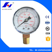 Black Steel Case With Brass Socket 0-200psi 0-1400kPa Medical Oxygen Pressure Gauge With Best Price