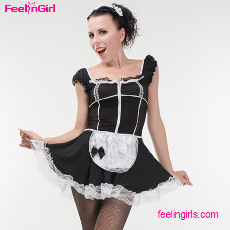Feelingirls Black and White Lace Zipper Dress French Sexy Maid Costume