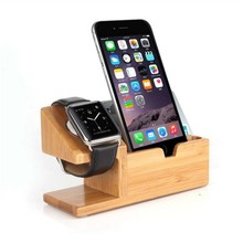 Wooden Smart Watch and Mobile Phone Charging Holder Dock Station bamboo wood usb charging station for Apple Watch and Phone