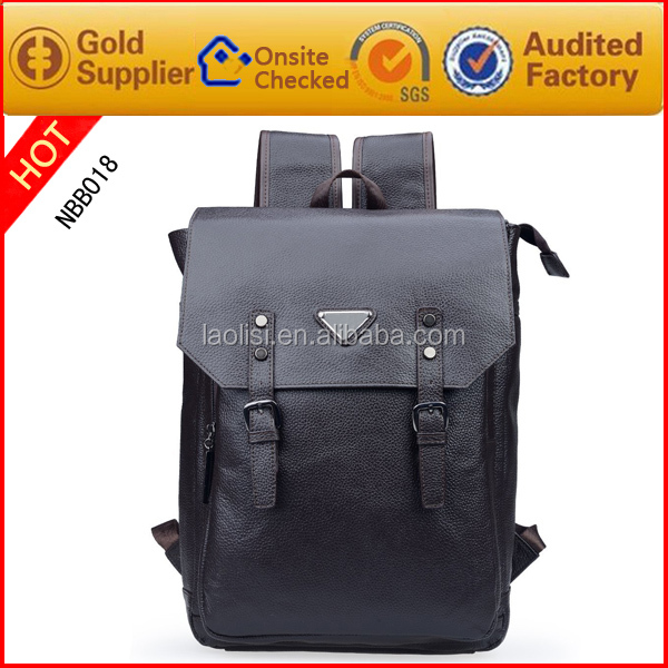large capacity good quality leather men laptop school backpack