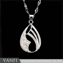 Latest Charming Design Fashion White Gold Plated Diamond Wholesale Jewelry Necklace