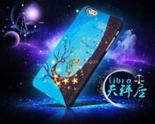 Constellation painting designs Light Up cell phone back cover/ glow in the dark mobile phone case for Iphone 6 6s 6plus