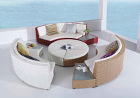Hot sale SGS tested outdoor rattan curved circular big round sofa for sale