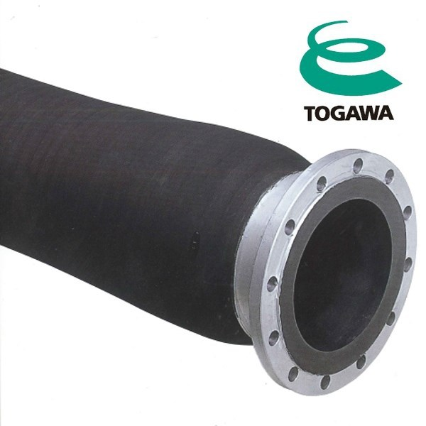 Ceramic delivery & suction hose for sand with flange. Manufactured by Togawa Rubber. Made in Japan (flexible reinforced hose)