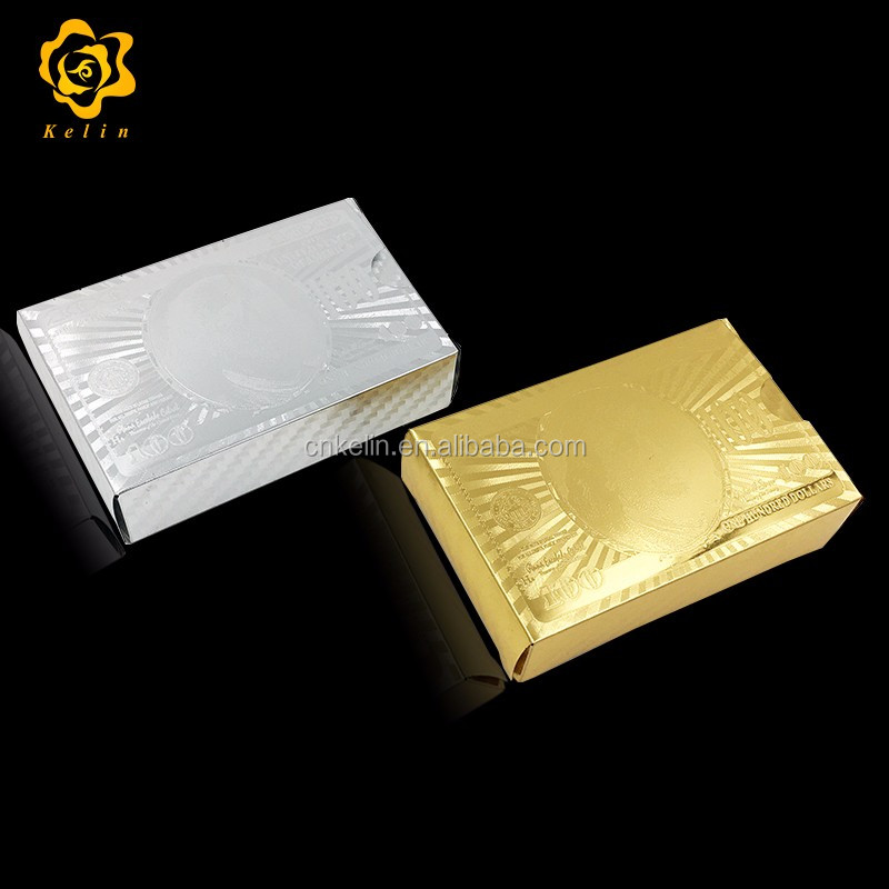 Hot New Products Plastic Playing Card 100 Dollar Gold Poker Card for Gift