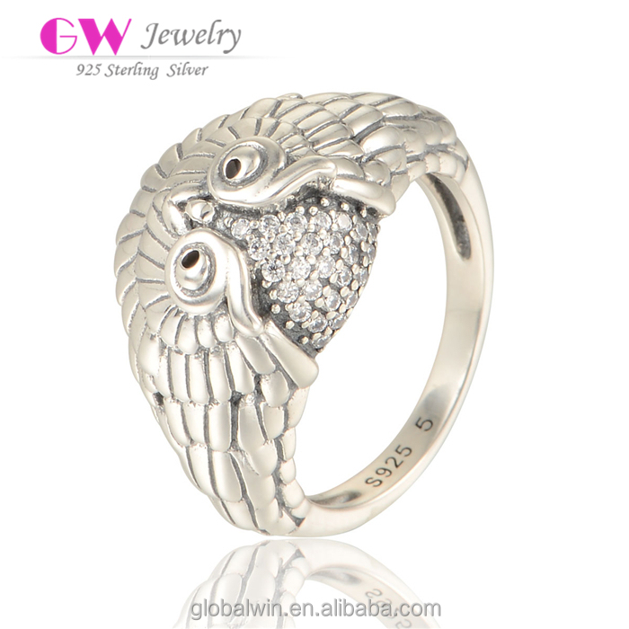Silver Fashion Jewelry Original Brand Hand Made Owl Rings