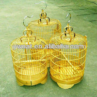 Wooden bamboo bird cage, carrying handle bamboo bird cages for sale