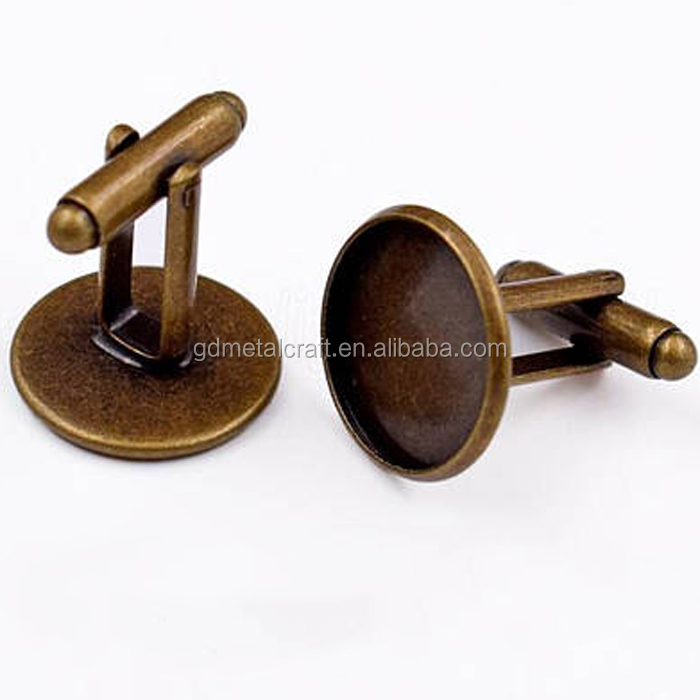 Shinny Gold Brass French Circle Cufflinks Trays Blank Cuff Link With 12mm Round Bezel