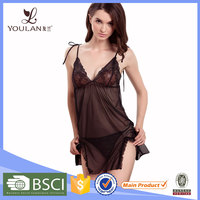 China Wholesale Cute Removable Strap Transparent Black Lace Cup Sexy Hot Sleeping Dress For Girls