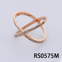 Stainless Steel Small Rhinestone Handmade Shiny X Ring With Rose Gold Plating