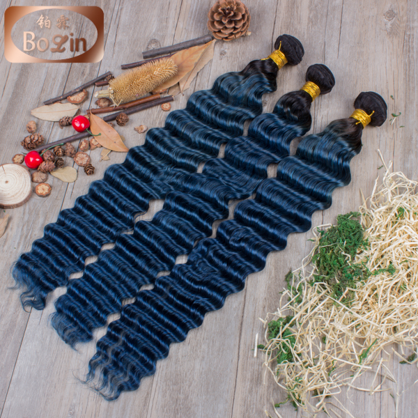 Ombre Brazilian virgin remy hair weft two tone 1b blue hair extension deep wave Brazilian hair weave bundles