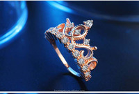 ally express cheap wholesale rose gold plated crown design zircon ring from China RNL028