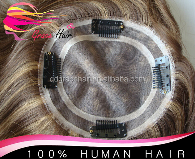 Factory price 100% human hair highlight clip in topper wig
