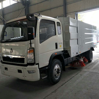 4x2 HOWO High Pressure Road Washing and Sweeping brushes /Street cleaning truck for sale