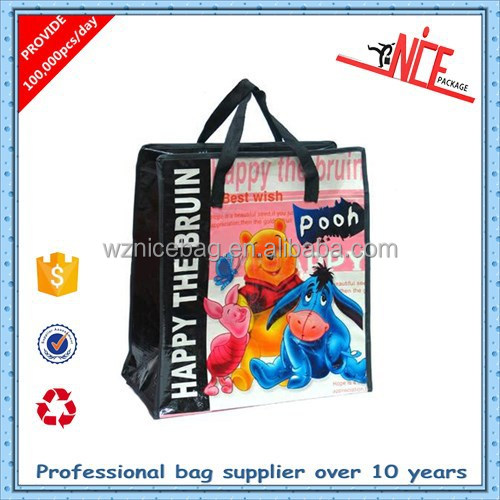 used laminated large pp woven shopping bag with zipper
