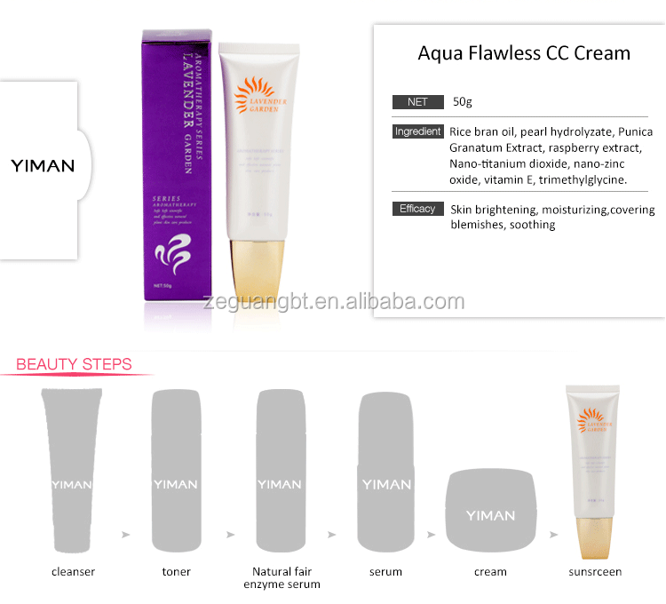Aqua Flawless CC Cream covering facial blemishes correct skin complexion, natural color face cc cream concealer