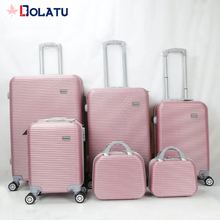 In stock wholesale low price ABS horizontal stripes hardshell travel luggage