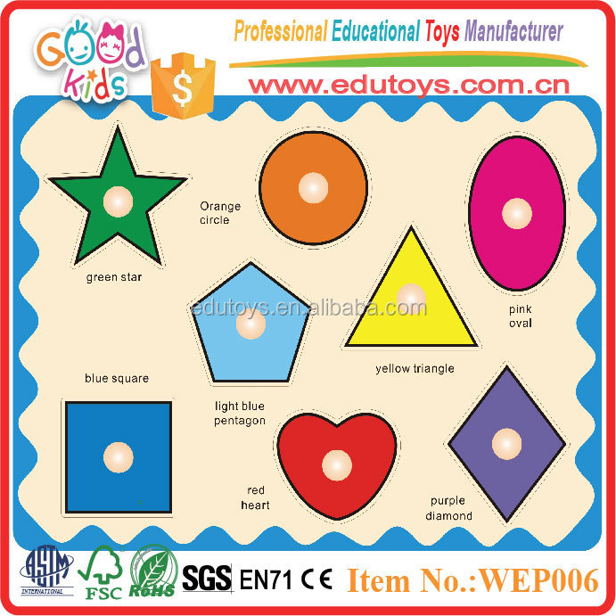8 Pieces Kids Geometric Shapes Learning Plywood Jigsaw Puzzle