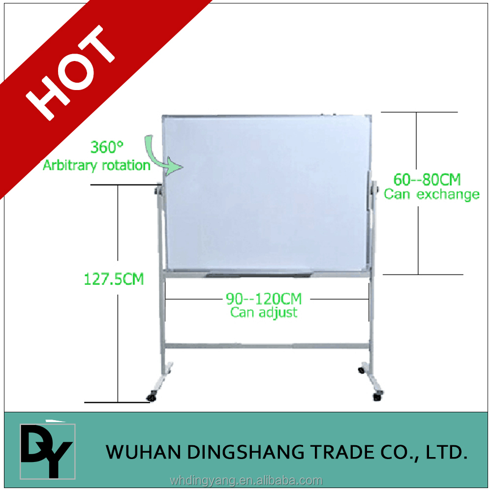 Double sides magnetic mobile whiteboard with wheels