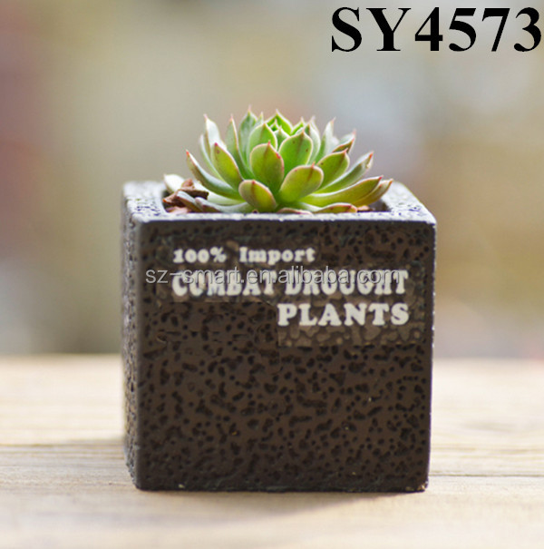 Black Square Small Cheap Cement Succulent Pot