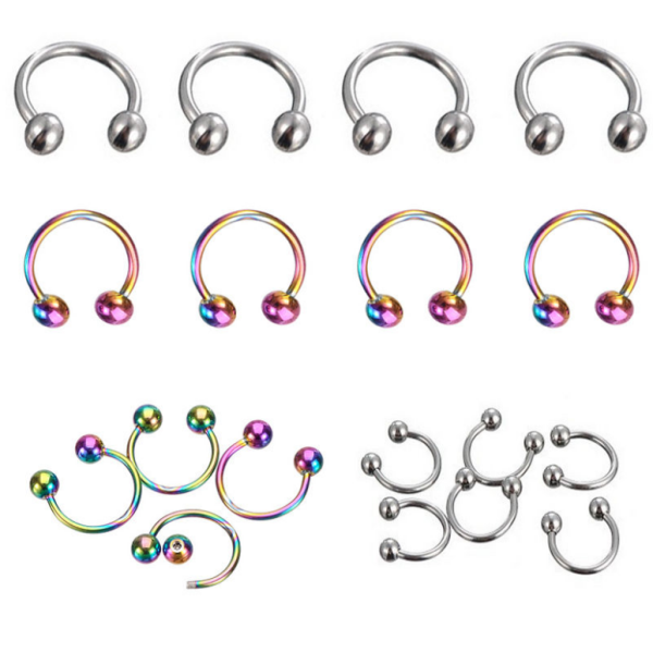 IP plated body piercing jewelry custom cheap horoeshoe labret lip rings