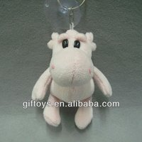 Lovely Pink Soft Stuffed Hippo Keychain with Sucker