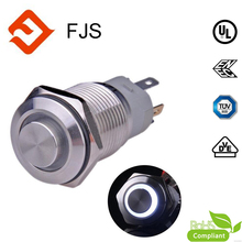 1NO1NC SPDT ON OFF Silver Stainless Steel IP65 Latching LED Ring16mm lighting Push Button Switch