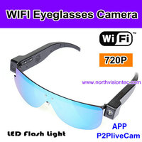 Fashional WIFI glasses 720P camera with 2.0 mega pixels supports 64 GB sd card
