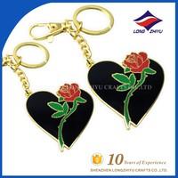 Folk art rose sweet heart keychain for love gift