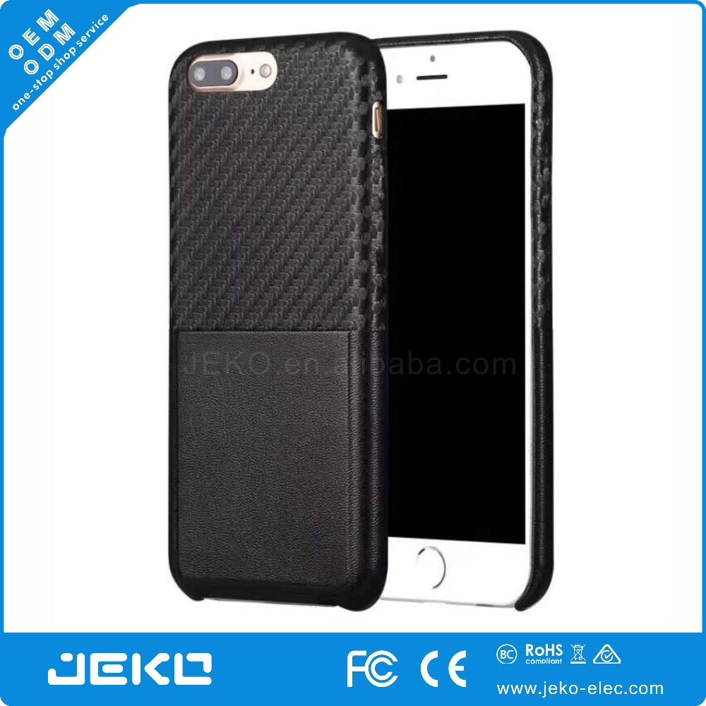 Carbon fiber leather cell phone case with card slot for iphone 7 7plus