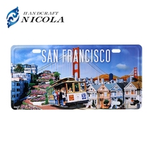 Funny car license plate with metal tin sign