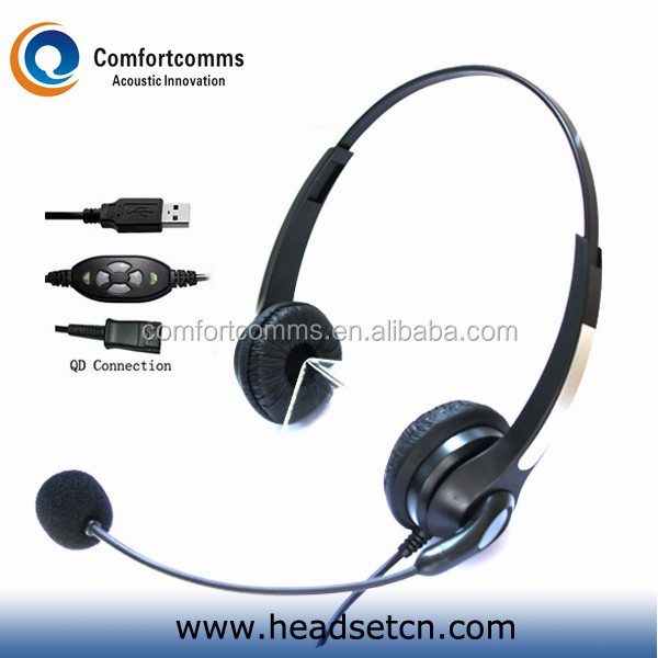 Professional binaural computer call center headset with usb adapter