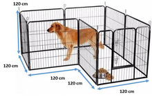 Dog Kennel Dog Run Playpen Portable Exercise Cage Fence Enclosure 8 Panels 120cm x 120cm
