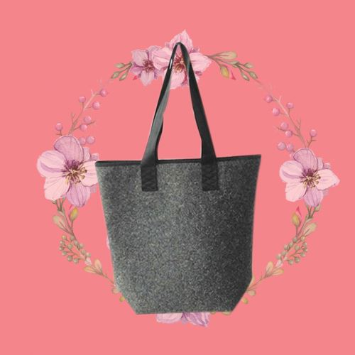 Handmade felt light duty canvas tote bag with soft loop handles