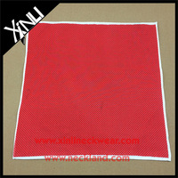 Wedding Personalized Small White Dots with Red Print Machine Hems Linen Handkerchiefs