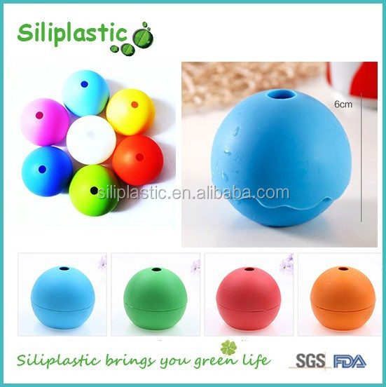 100% food grade blue round ball shaped silicone ice cube trays