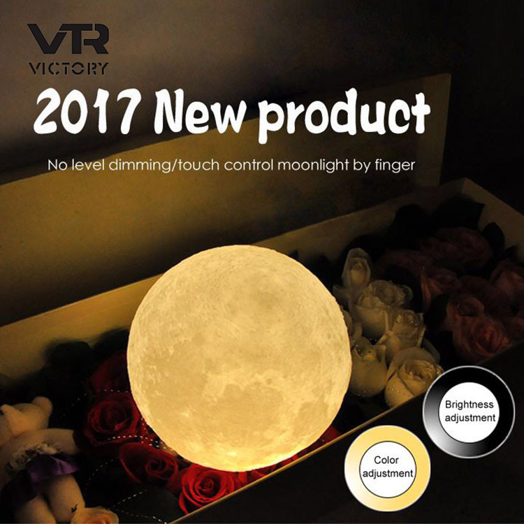 2017 New Christmas gift 3 colors lunar night light LED 3D printing moon lamp