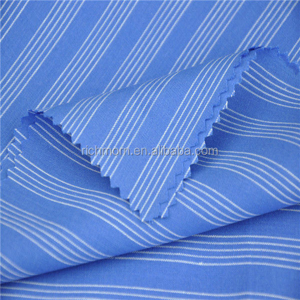 Blue white striped poplin fabric for t shirt