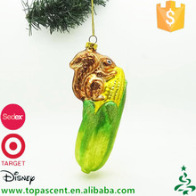 Hand painted blown glass animal squirrel climbing green corn christmas ornaments for sale