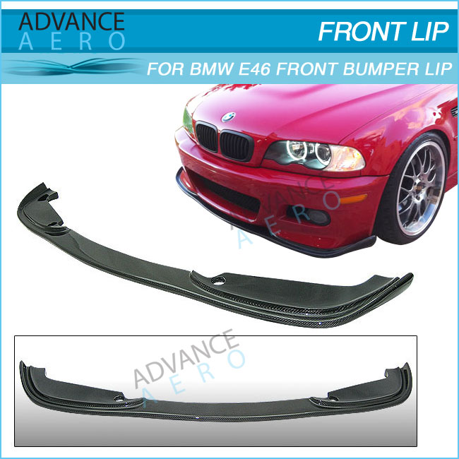 FOR 01 02 03 04 05 06 BMW E46 M3 CARBON FIBER FRONT BUMPER LIP H STYLE CF FRONT LIP