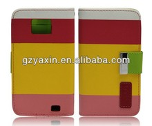 2014 hot sell credit card slot leather flip case for samsung i9100 galaxy s2