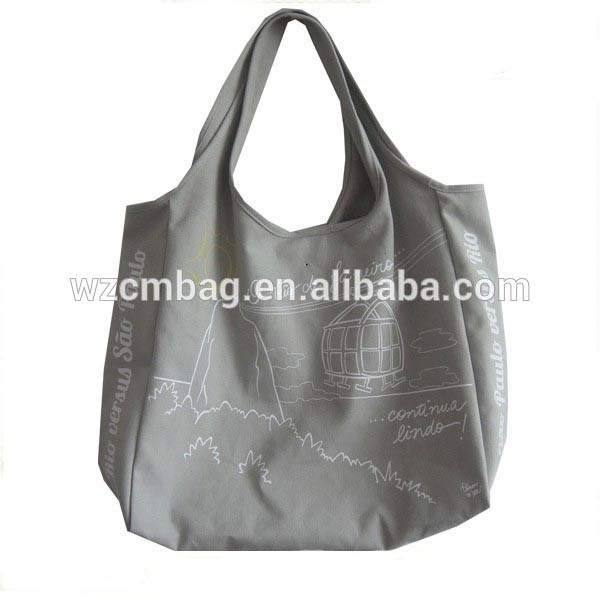 Gray cotton personalized bagsfor shopping or travel carry