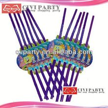 Updated hot sell custom logo printed plastic party straw parasol cocktail decorative straw