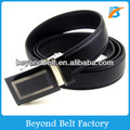 Beyond 35mm Wide Black Solid Leather Slide Belt for Men in Stock